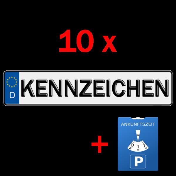 10x kfz kennzeichen und parkuhr